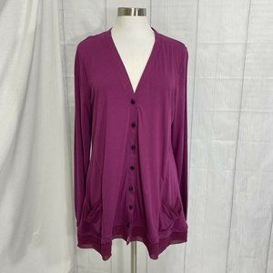 Logo Lori Goldstein XL Cardigan Jacket Purple Mesh